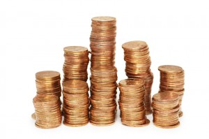 stacks on gold coins isolated on white